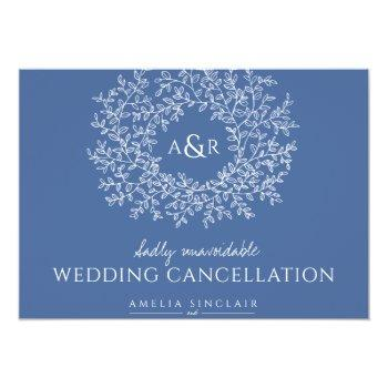 Small Monogram Blue Leaves Wedding Cancellation Announcement Front View