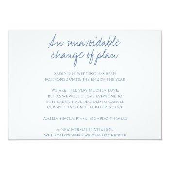 Small Monogram Blue Leaves Wedding Cancellation Announcement Back View