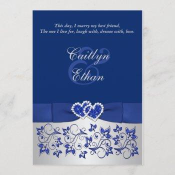 monogram blue, silver floral wedding invitation