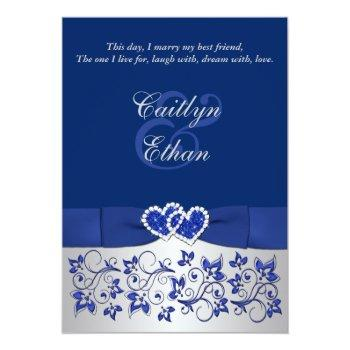 Small Monogram Blue, Silver Floral Wedding Invitation Front View