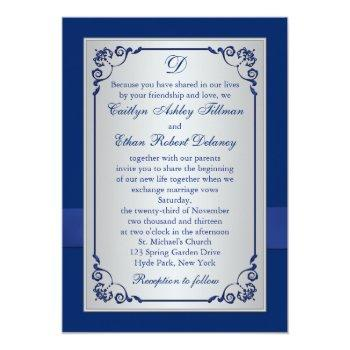 Small Monogram Blue, Silver Floral Wedding Invitation Back View