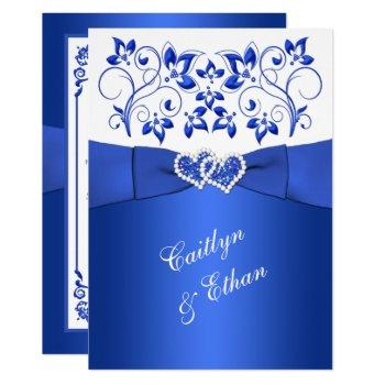 monogram cobalt blue, white floral wedding invite