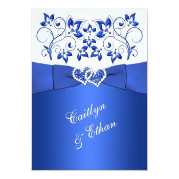 Small Monogram Cobalt Blue, White Floral Wedding Invite Front View