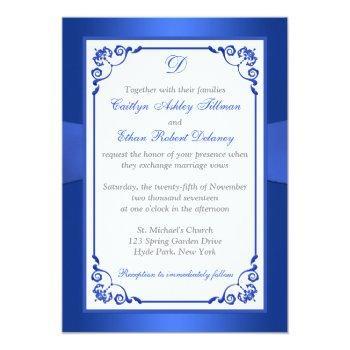 Small Monogram Cobalt Blue, White Floral Wedding Invite Back View