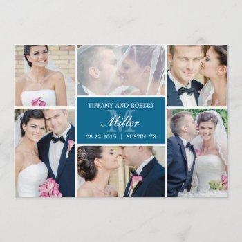 monogram collage wedding announcement - blue