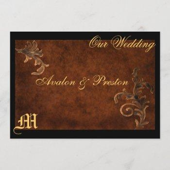 monogram elegant  scroll leaf wedding invitation
