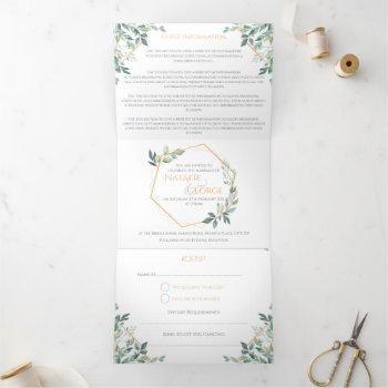 monogram gold leaf tri-fold wedding invitations