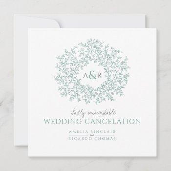 monogram green leaves wedding cancelation announcement