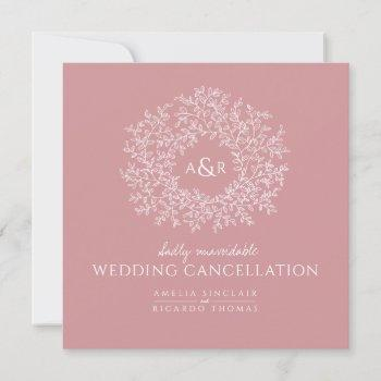 monogram muted pink leaves wedding cancellation announcement
