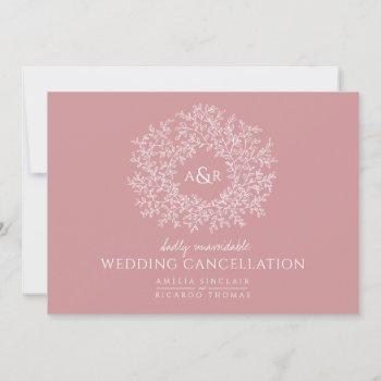 monogram pink leaves wedding cancelled landscape announcement
