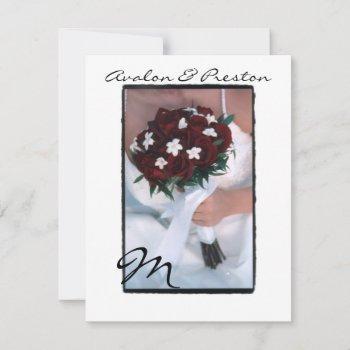 monogram red roses wedding invitation