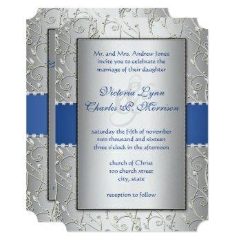 monogram royal blue silver swirl wedding invitation