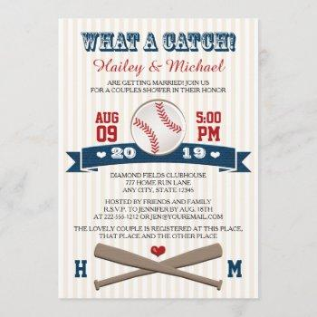 monogrammed baseball couples wedding shower invitation