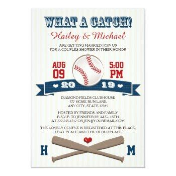 monogrammed baseball couples wedding shower invitation