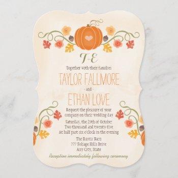 monogrammed fall pumpkin wedding invitations