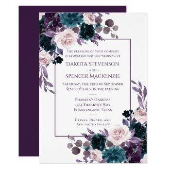 moody boho | eggplant purple floral frame wedding invitation