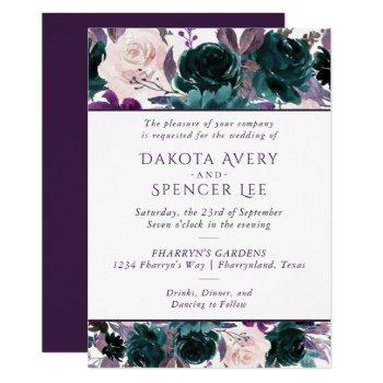 moody boho | eggplant purple floral wreath wedding invitation