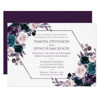 moody boho | purple eggplant geometric wedding invitation