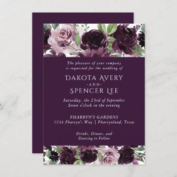 moody passion | dramatic purple bouquet wedding invitation