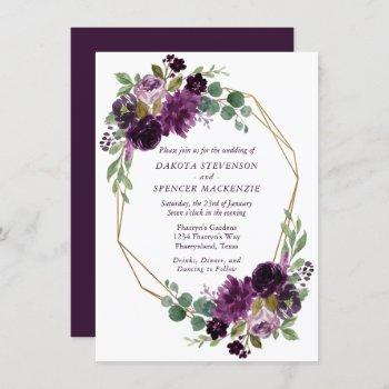 moody passion | dramatic purple floral gold frame invitation