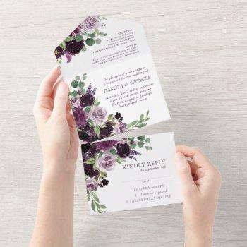 moody passion | dramatic purple floral wedding all in one invitation