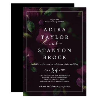 moody purple blooms | black pattern wedding invitation