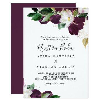 moody purple blooms spanish nuestra boda invitation