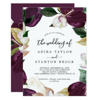 moody purple blooms the wedding of invitation