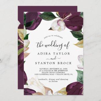moody purple blooms the wedding of invitation