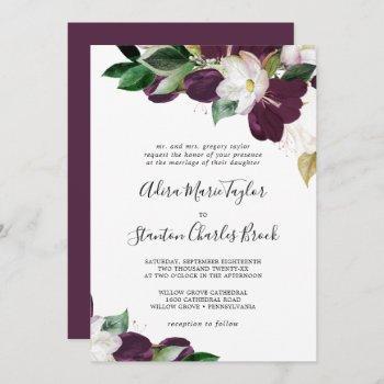 moody purple blooms traditional wedding invitation