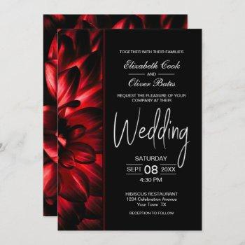 moody red floral wedding invitation