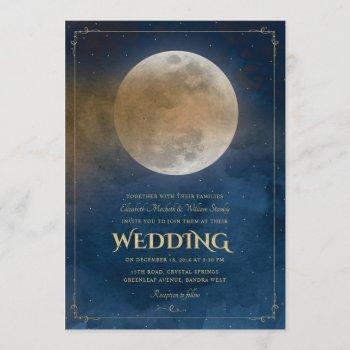 moon stars celestial navy blue wedding invitation