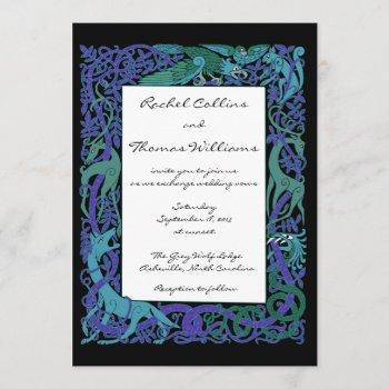 moonlight blue celtic animals wedding invitation