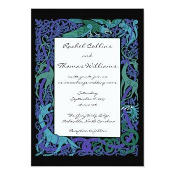 moonlight blue celtic animals wedding invitation