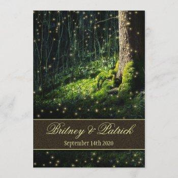 moss enchanted forest firefly wedding invitations