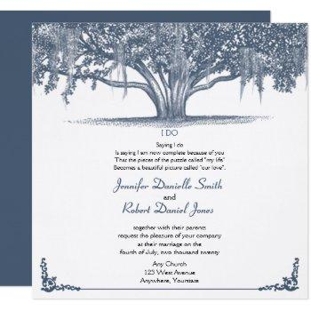 mossy oak tree in blue wedding invitation