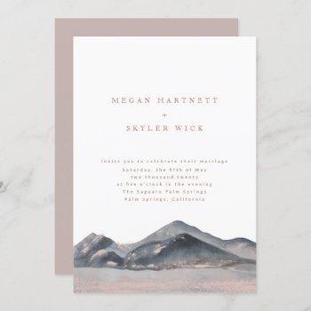 mountain desert watercolour wedding invitation