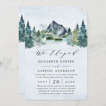 mountain evergreen rustic trees wedding elopement invitation