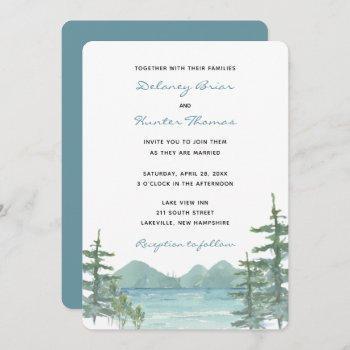 mountain lake theme watercolor wedding invitation