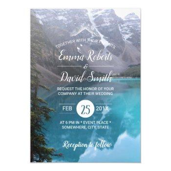 mountain lake wedding elegant invitation