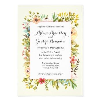 mountain meadow watercolor wildflowers wedding invitation