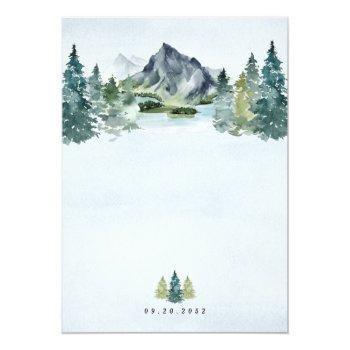 Small Mountain Watercolor Elegant Rustic Themed Wedding Invitation Back View