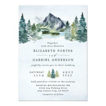 mountain watercolor elegant rustic themed wedding invitation
