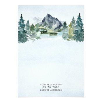 Small Mountain Watercolor Evergreen Rustic Tree Wedding Invitation Back View