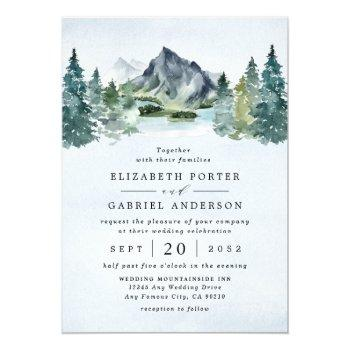 mountain watercolor evergreen rustic tree wedding invitation