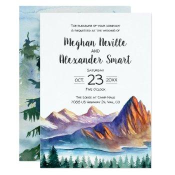 mountain wedding invitation with water and pines