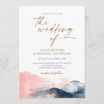 mountain wedding modern watercolor navy pink gold invitation