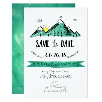 mountain wedding save the date invitation