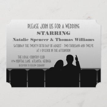 movie theater wedding invite, gray invitation