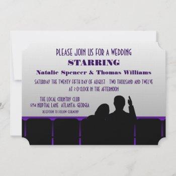 movie theater wedding invite, purple invitation